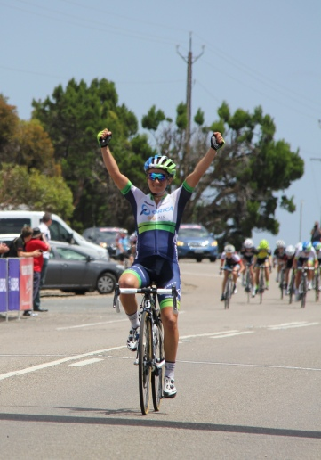Valentina Scandolara wins TDU Stage 1 - photo by Nikki Pearson
